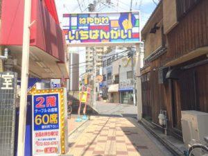 左手に餃子の王将さん、商店街の出口が見えます。